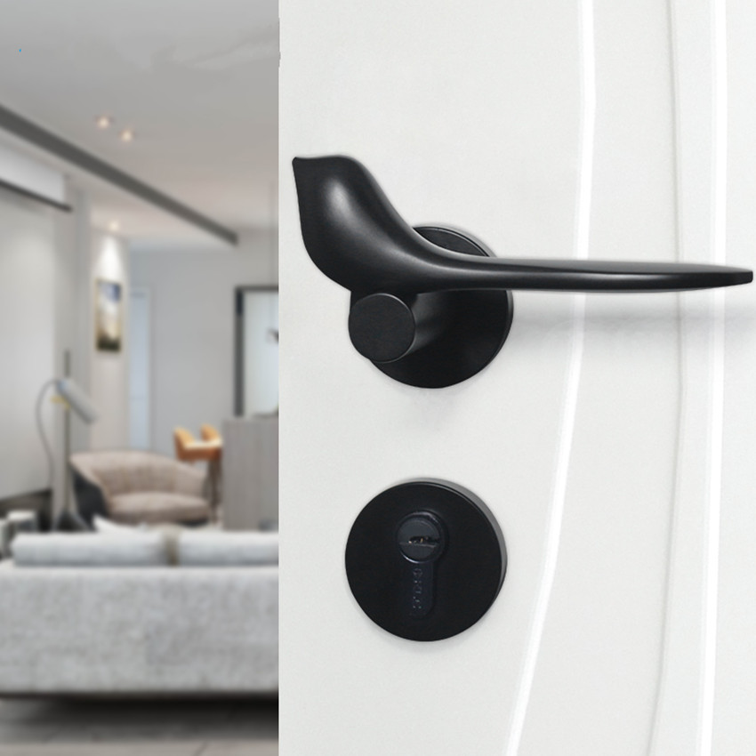 Modern simple Fashion Interior room door lock black Split Mechanical mute Solid wood bedroom door lock Creative bird handle lock modern simple fashion interior room door lock black split mechanical mute solid wood bedroom door lock creative bird handle lock