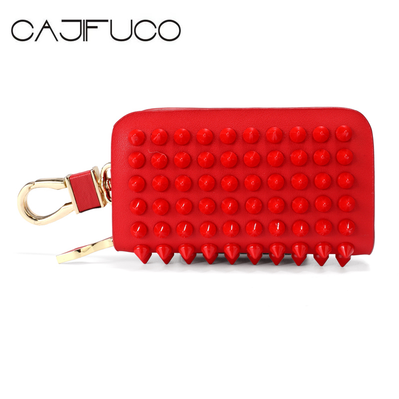 CAJIFUCO Japan Korean Women Stud Key Holder Wallet Genuine Leather Key Leather Wallet Car Key Wallet Rivet Coin Purse Keychain 1x popular london telephone box key holder keychain british red telephone booth key wallet tool