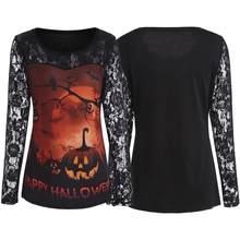 994322415f9 Halloween Pumpkin Print Lace Panel Long Sleeve Punk Women T Shirt Mesh  Hollow Out Patchwork Letter Leopard Print Casual Tshirt