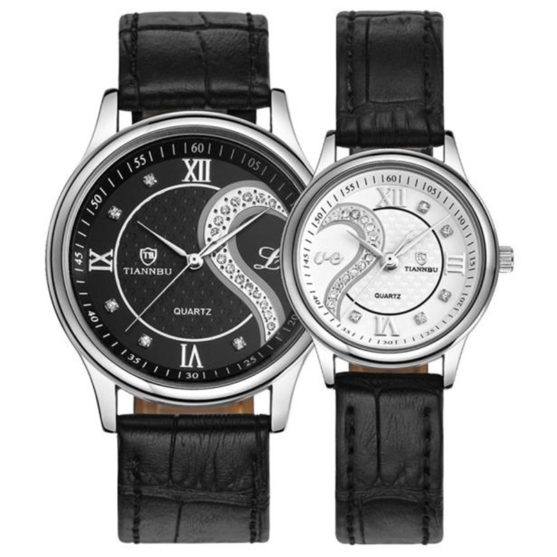 1 Pair 2pc Tiannbu Ultrathin Leather Romantic Lover s Couple Quartz Wristwatches Wrist Watches with Case