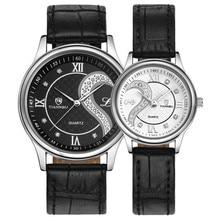 1 par/2 unid tiannbu cuero ultrafino romántica pareja del amante relojes del cuarzo relojes de pulsera con caja de envío gratis m24
