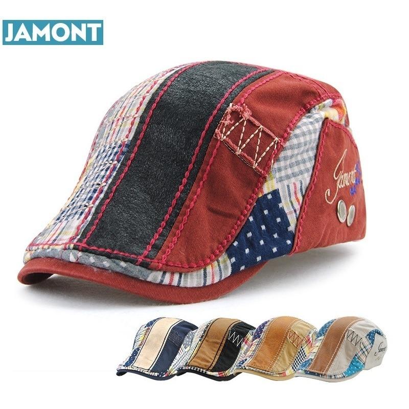 JAMONT Beret Hat Sun-Hat Flat-Cap Cotton Fashion Women Unisex for Leisure Visor Casquette