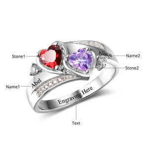 Image 3 - Promise Ring Personalized Engrave Name Custom Heart Birthstone Ring 925 Sterling Silver Rings For Women Gift (JewelOra RI102502)