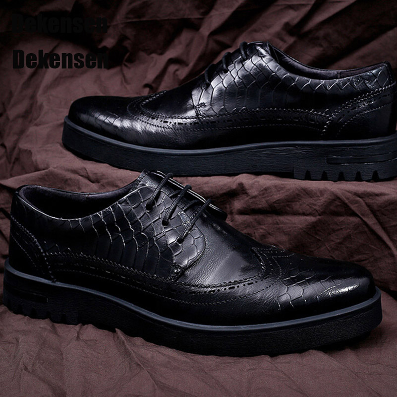 Top Quality Men Dress Shoes England Style Men Brogue Carving Real Leather Shoes Oxfords Male Business Fashion Business Shoes