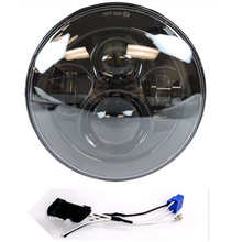 "Round 7"" Motorcycle Black Projector Daymaker HID LED Light Bulb Headlight For Harley Street Glide Softail FLHX F Touring Trike(China)"