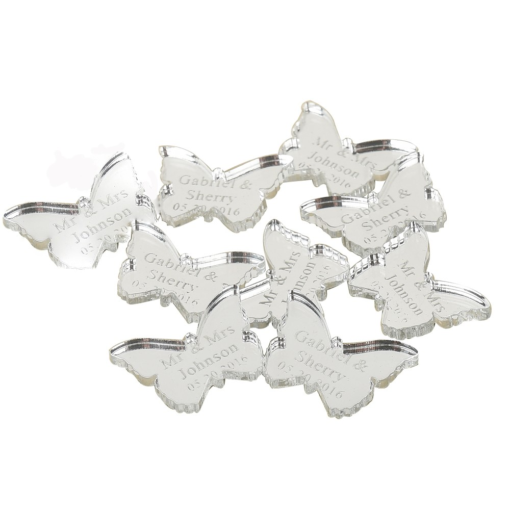 60 pcs Personalized Engraved Mirror / Clear Acrylic Butterfly ...
