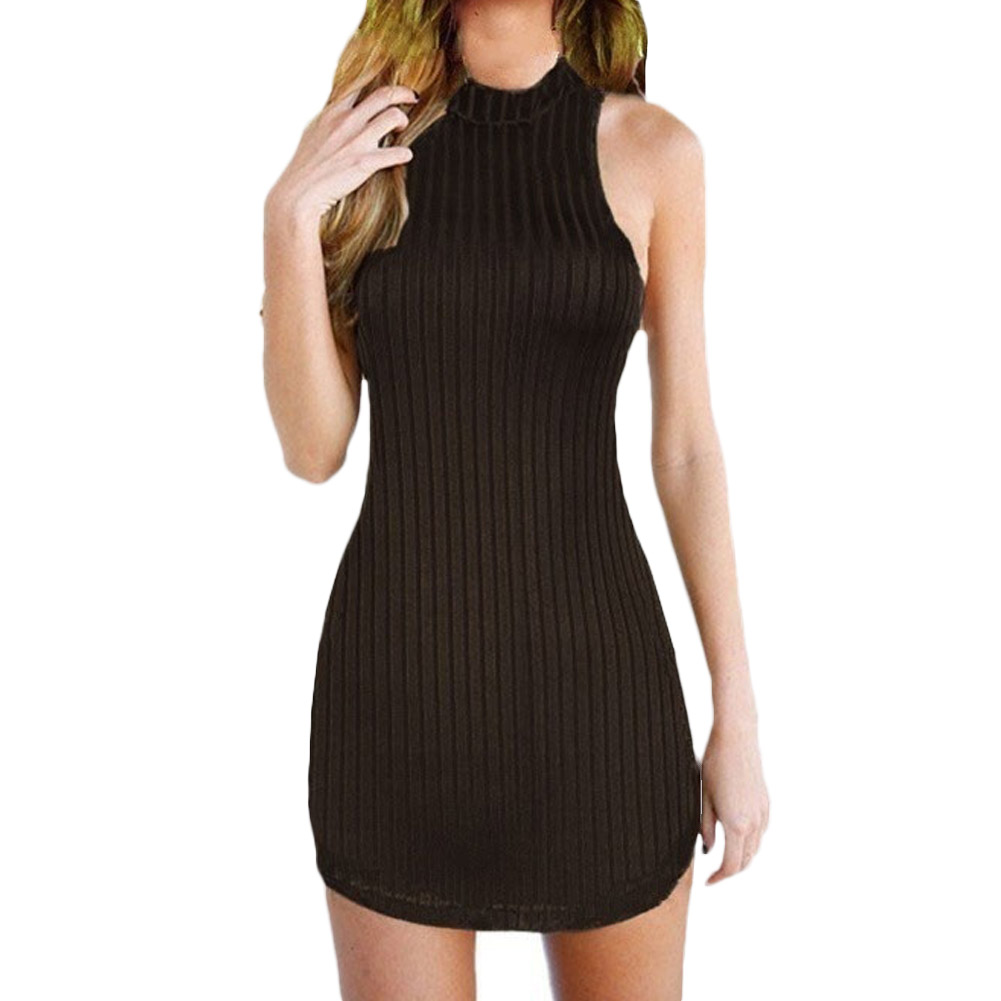 Casual Bodycon Halter Knitted Dress Back Holoow Cross Bandaged Dress Vestidos Short Sweater Sheath Sleeveless Dress