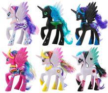 Boneco de brinquedo pony de 14cm, princesa, celestia luna pinkie pie, arco-íris, unicórnio de pvc, figura de ação colecionável, modelo, boneco para menina menina