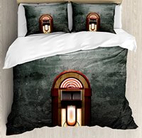 Jukebox Duvet Cover Set Scary Movie Theme Old Abandoned Home with Antique Old Music Box Image 4 Piece Bedding Set