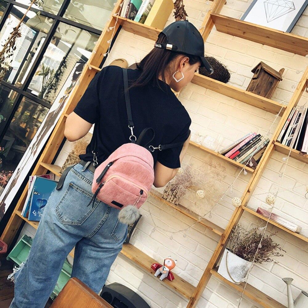 Small Mini Backpack Women Fur Ball Winter Velvet School Shou