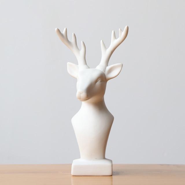 1pc Deer Head Statue White Ceramic Reindeer Figurine Home Decorative Animal Elk Sculpture Craft Ornament