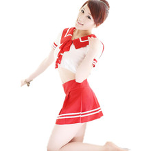 Hot Sexy Japanese Girl School Uniform Sex Lingerie 2016 New Women Costumes Cheerleader Costume Korean Student Costumes red