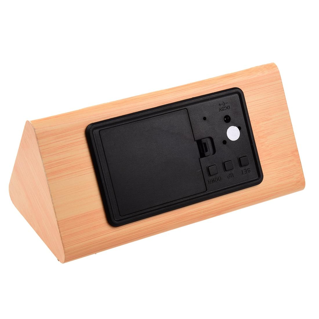 Voice Control Calendar Thermometer e Wood Wooden LED Digital Alarm Clock USB/AAA Bamboo Wood White LED