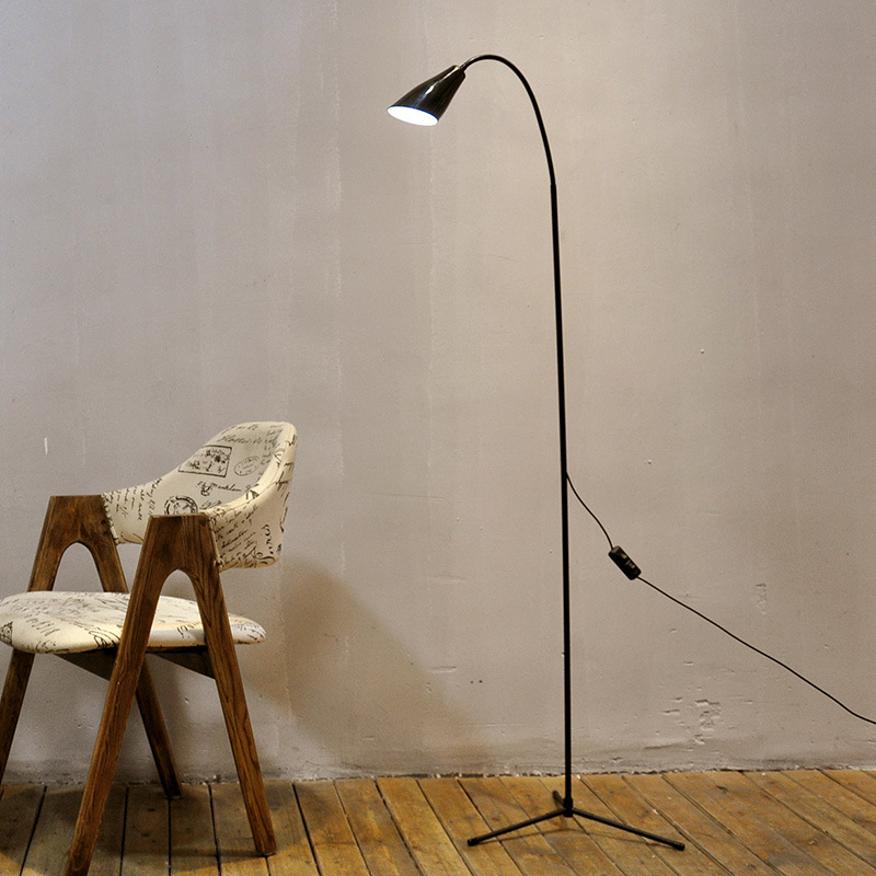 Modern Minimalist LED Floor Lamp Simple Black White Standing Light Living Room Bedroom 6W Dimmer Bedside Reading Stand Lamp modern wooden floor lamps bookshelf floor stand lights tea table standing lamp living room bedroom locker nightstand lighting