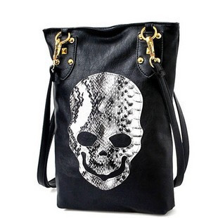 2016 New Style Fashion Punk Black Skull Face Designer PU leather Tote Handbags Womens Shoulder Bag Ladies CrossBody Ba