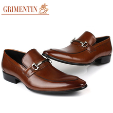 GRIMENTIN fashion vintage Mens Dress Shoes Men Genuine Leather Slip On Black Brown Formal designer shoes Men flats Wedding party