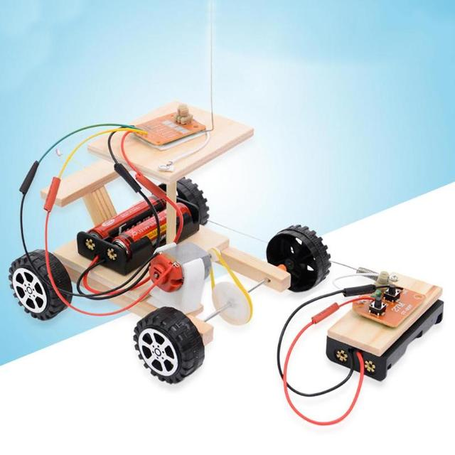 DIY Wireless Remote Control Racing Model Kit Wood Kids Physical Science Experiments Toy Set Assembled Car Educational Toy