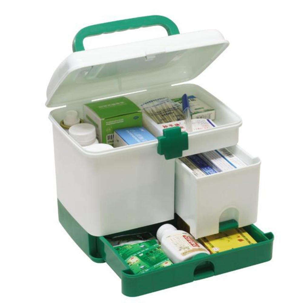 Plastic Storage Box Medicine Organizer Box Case Multi Layer First Aid Kit Big Capacity Drawers
