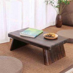 Mesa de té de madera sólida antigua de estilo japonés Tatami pequeña mesa de café muebles de madera sólida Paulownia mesita de té baja