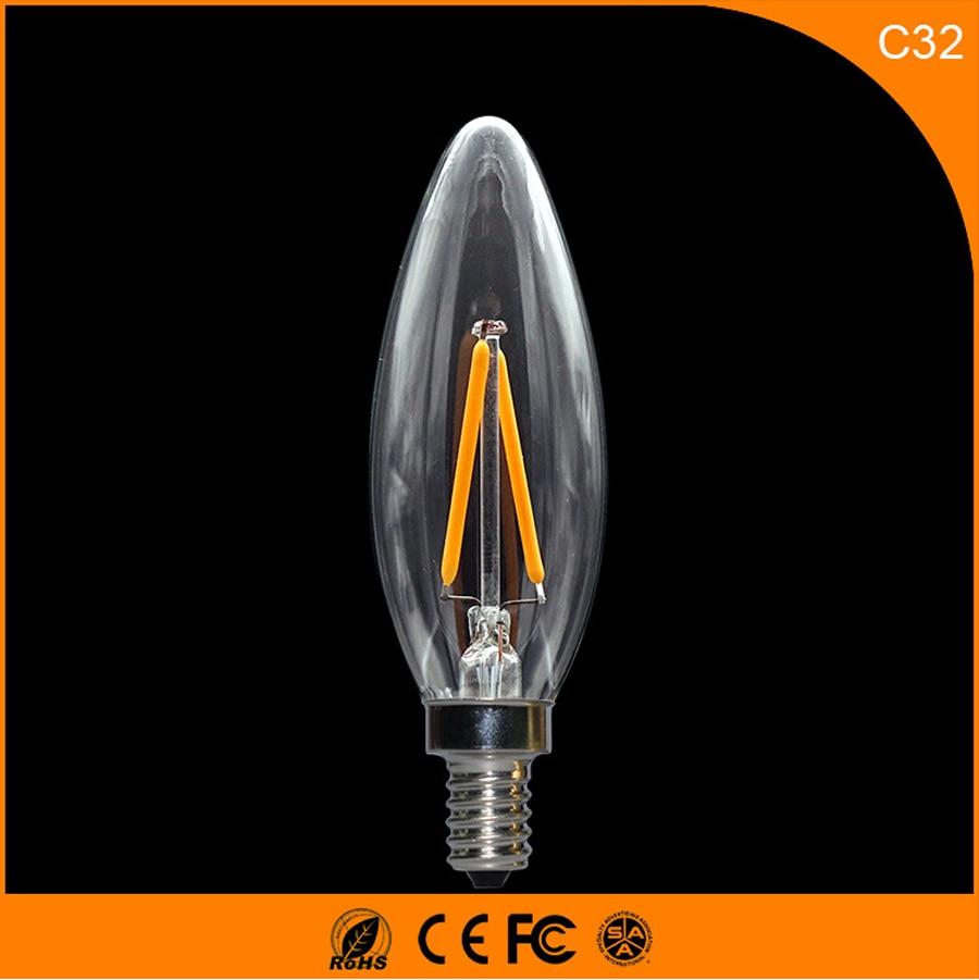 50PCS 2W E14 E12 LED Bulbs ,C32 LED Filament Candle Bulbs 360 Degree Light Lamp Vintage pendant lamps AC220V