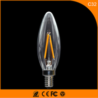 50PCS 2W E14 E12 LED Bulbs ,C32 LED Filament Candle Bulbs 360 Degree Light Lamp Vintage pendant lamps AC220V