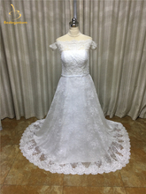 2017 New Sexy Scalloped Lace A-Line Wedding Dresses With Appliques Button Bow Plus Size Bridal Gowns Robe De Mariage W227