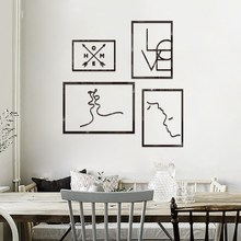 Nordic style simple Love and home line frame 3D sticker Ins acrylic living room bedroom decoration DIY restaurant wall