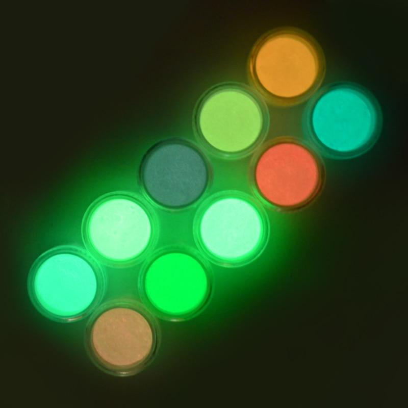 ZKO 1 Box holographic glitter Neon Phosphor Powder Nail Glitters Powder Dust Luminous Pigment Fluorescent Powder Glow Dark