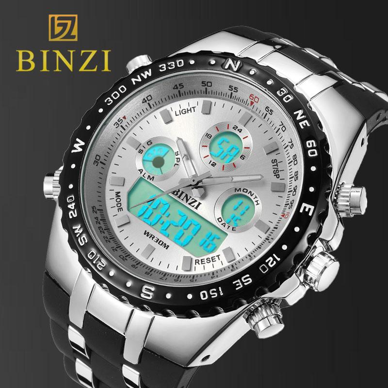 Prix pour BINZI Marque De Luxe Sport Montre-Bracelet Militaire des Hommes Montres Étanches Mode Silicone LED Numérique Horloges Hommes Montre-Bracelet À Puce