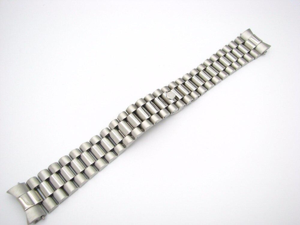 CARLYWET 20mm Solide Extrémité Incurvée Vis Liens Boucle Déployante En Acier Inoxydable Bande de Montre-Bracelet Bracelet Pour Rolex Président