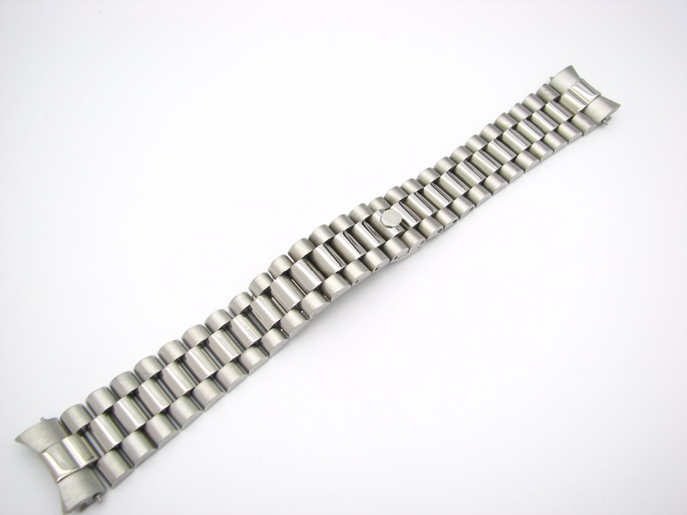 CARLYWET 20 մմ պինդ կոր կորած վերջավոր պտուտակով հղումներ Տեղադրում ճարմանդ Չժանգոտվող պողպատից դաստակ Watch Band Band ձեռնաշղթա Rolex President- ի համար