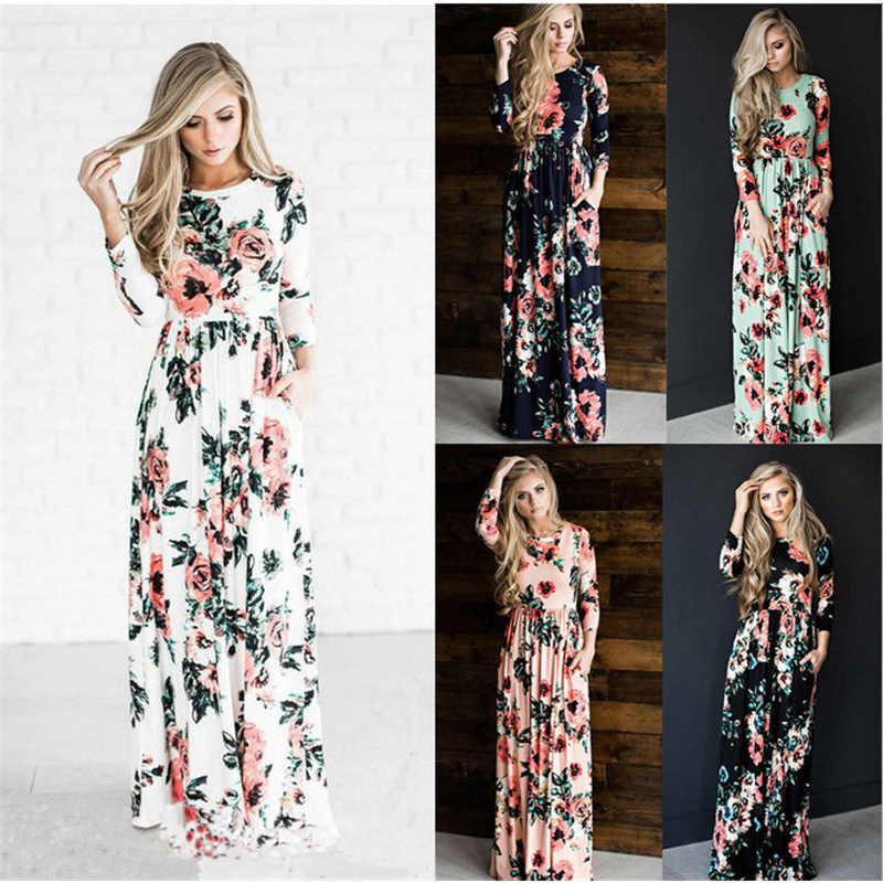 2019 весеннее модное женское сексуальное Повседневное платье-рубашка с длинным рукавом и круглым вырезом с цветочным принтом Длинное Платье Макси
