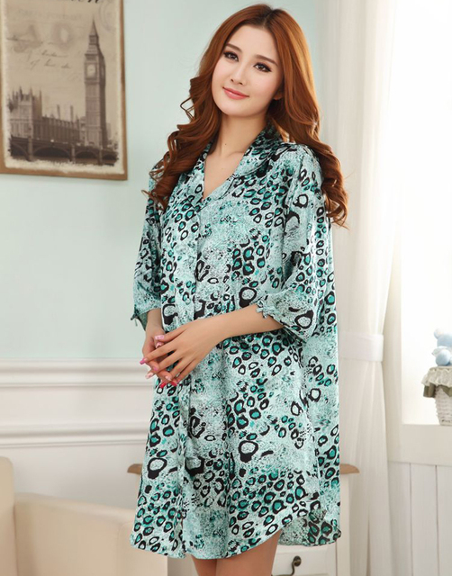 New Style Leopard Women Faux Silk Nightgown Sexy Mini Sleepshirt Bath Robe  Gown Solid Color Lingerie f5e15cfb8