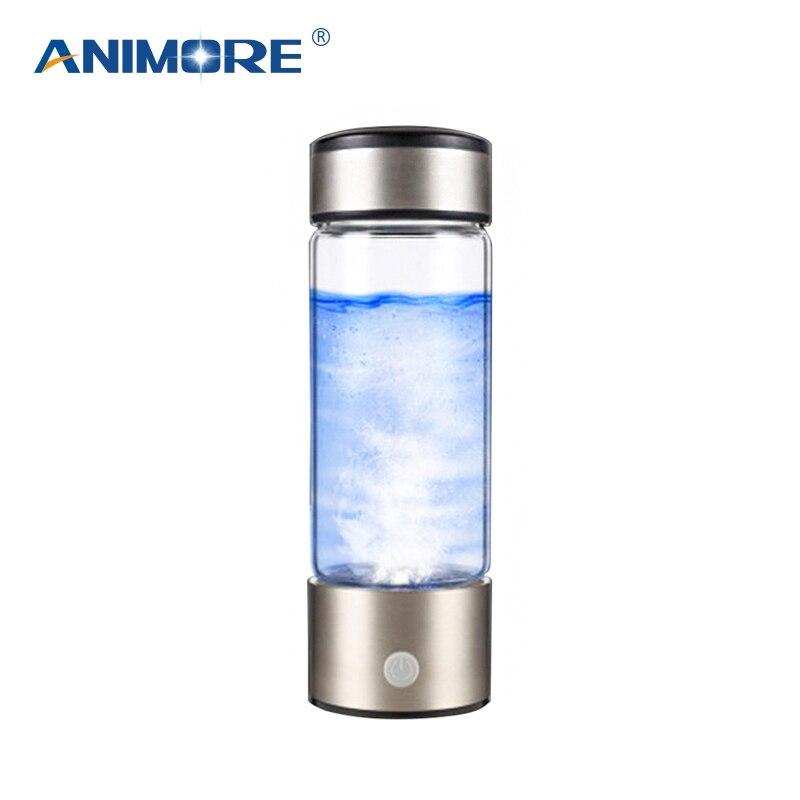 ANIMORE Portatile Ricco di Idrogeno Bottiglia di Acqua USB Ricaricabile Ricco di Idrogeno Generatore di Acqua Elettrolisi Ionizzatore Acqua RHW-01
