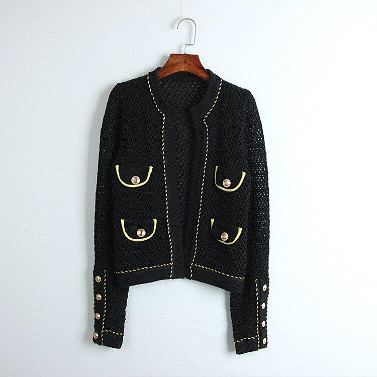 2018 printemps automne élégant col rond chandail cardigans évider noir court slim bureau poches chandail manteau mode outwear