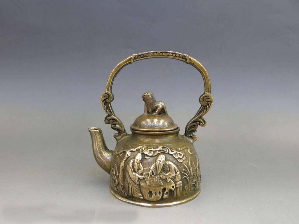 Chinese Brass Copper Carven Dog 2 Old Man chess pattern water teapot teakettle|teakettle| |  - title=