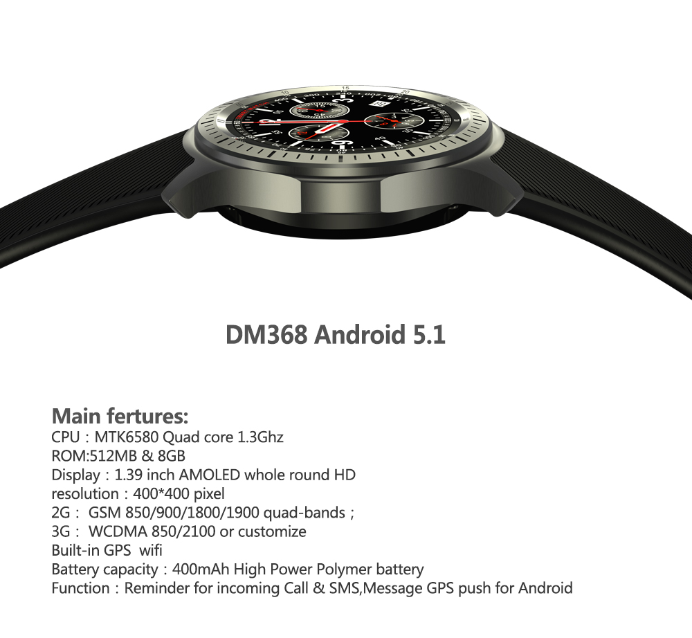 Android Smart Watch DM368 MTK6580 Quad Core 1.3Ghz 1.39 AMOLED Display RAM 512MB+ROM 8GB Heart Rate Monitor QQ 3G WIFI APP smart watch smartwatch dm368 1 39 amoled display quad core bluetooth4 heart rate monitor wristwatch ios android phones pk k8