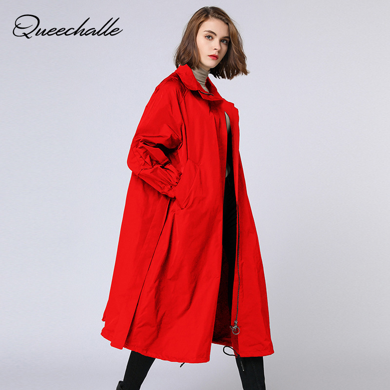 Queechalle 2019 Autumn Winter Plus Size   Trench   Coat Female Turn-down Collar Loose Outerwear with Belt Elegant Women Windbreaker