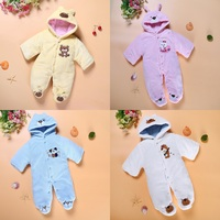 Hooyi Baby Boy Romper With Foot Coral Fleece Winter Newborn Outfits Hooded Jumpsuits Girls Coat Bebe