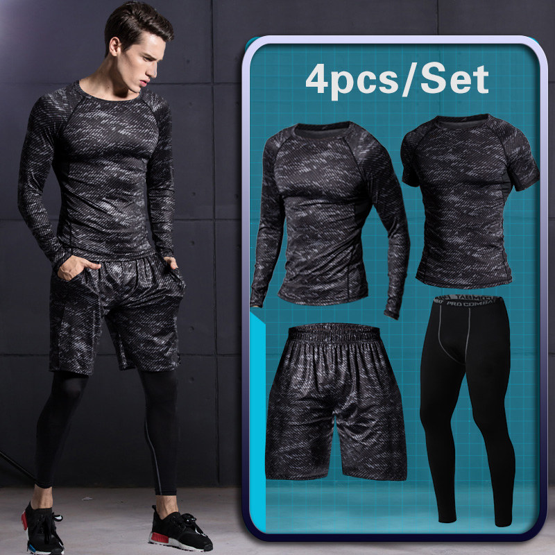 4 Pcs Men's Gym Sportswear Running Track Suits Male Tracksuit Outdoors Suit Men Outdoor Jogging Sport Suits Casual Sportswear