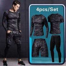 3d56f2c48d483 4 piezas de los hombres gimnasio ropa deportiva corriendo trajes chándal  masculino al aire libre traje de los hombres al aire li.