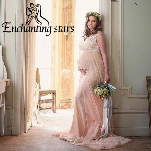 ff2aff441a Summer 2017 Pink Maternity Wedding Dresses With Lace Appliques Cap Sleeves  Deep V-Neck Empire