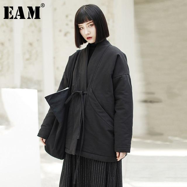 $ US $50.40 [EAM] 2020 New Spring V-collar Long Sleeve Black Loose Brief Bandage Cotton-padded Large Size Coat Women Fashion JK133