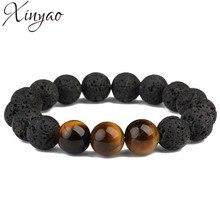 Фотография XINYAO 2017 Fashion Natural Black Lava Stone Beaded Bracelet Tigers Eyes Charm Bracelets For Women Mens Pulseira Masculina F5527