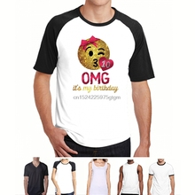 OMG Its My Birthday Emoji Girls 10th Mens T Shirt Fashion Casual Short Sleeve Tees