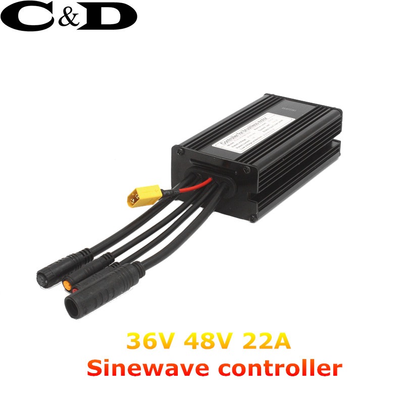Waterproof Connector 36V 48V 500W 22A 9 Mosfet Electric bicycle Brushless Controller Sinewave KT Series Support