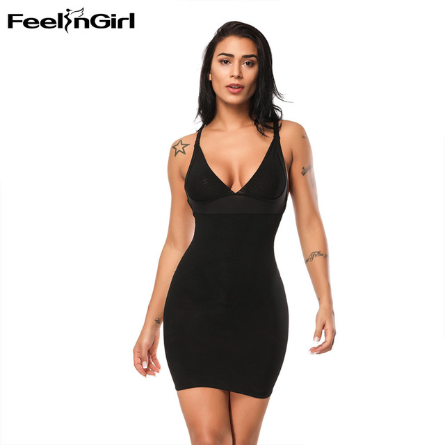 c2c2e86f68b FeelinGirl Free Shipping Hot Body Shaper Deep V Neck Backless Dress  Postpartum Slimming Shapewear High Quality Women Lingerie -E