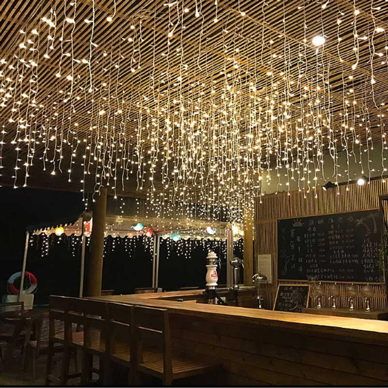 Подключаемый 5 м 96 Светодиодный занавес сосулька гирлянда сказочные огни Рождественские лампы Рождественские Свадебные украшения для вечеринки на открытом воздухе