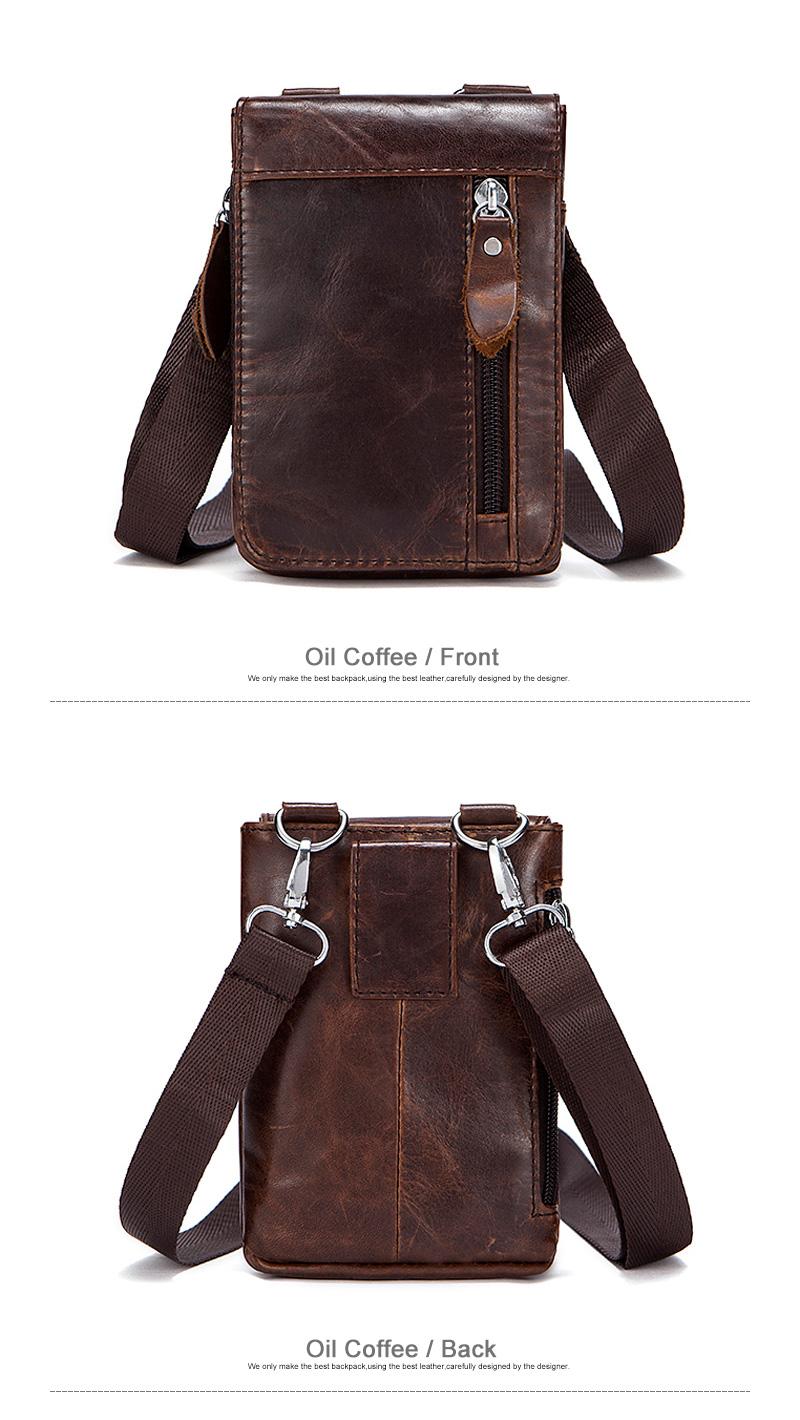 5 genuine leather men small waist packs