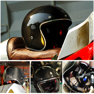 Image 3 - אופנוע סיבי פחמן 3/4 פתוח פנים בציר קסדת רחוב קפה רייסר עבור האלי Moto Casco חצי קיץ ECE